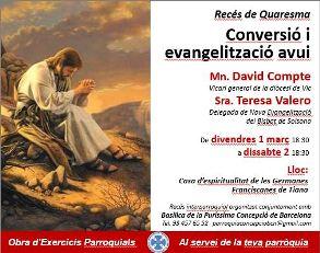 <h2> Recés de Quaresma – Conversió i evangelització avui </h2> <h4>Mn. David Compte - Sra. Teresa Valero </h4>